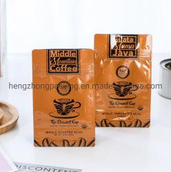Op maat gemaakt hertrekbaar Zipper Lock biologisch afbreekbare Kraft Paper vlakke bodem Plastic zakje voor koffiethee