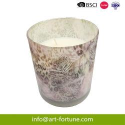 La Soja con fragancia de lujo de cera de velas de aromaterapia en vidrio con papel adhesivo de Niza