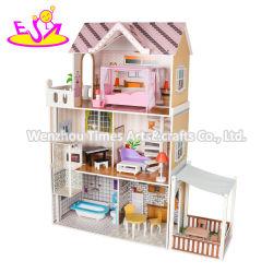 2020 Nouveau libéré les enfants en bois jouet Dollhouse majestueux manoir avec ascenseur W06A412