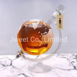 Bottiglia di vetro personalizzata immaginazione del brandy di figura del globo con il supporto
