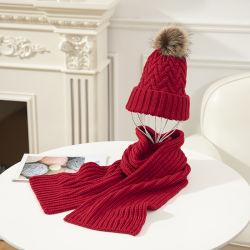 Pieles de Alta Calidad pom-pom rojo cálida bufanda Hat establece invierno Beanie para las mujeres señoras