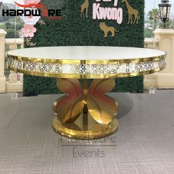 Eventのための切り分けられたRound Gold Stainless Steel Base LED Lighted Dining Table