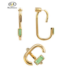 Индивидуальность прямоугольник Olivine CZ Earring кольца украшения для женщин