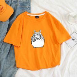 새로운 상표 남녀 공통 t-셔츠 여름 짧은 소매 t-셔츠 남자 여자가 우연한 Harajuku Kawaii 재미있은 만화 Totoro 인쇄 면에 의하여 티 꼭대기에 오른다
