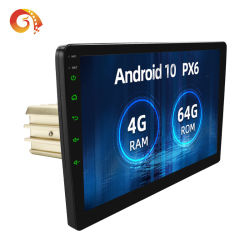 10 polegada 1DIN 10 Android 2.5D IPS Tela Sensível ao Toque+644 GB de rádio com RDS AM navegação veicular GPS PX6 estéreo para automóvel