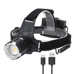 2020再充電可能な新しい防水高い発電LEDのヘッドライトUSB両方緊急のヘッドライトをハイキングする長距離