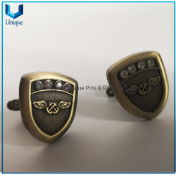 고대 금, 은, 선전용 선물을%s 수정같은 훈장을%s 가진 고품질 커프스 단추에 있는 미국 3D 로고 커프스 단추를 주문 설계하십시오