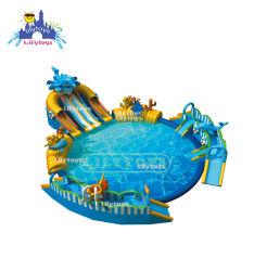 متنزه مائي متحرك مع موضوع الدلفين كارتون حمام السباحة حديقة مائية مرحة للوالد-الطفل مع زلق