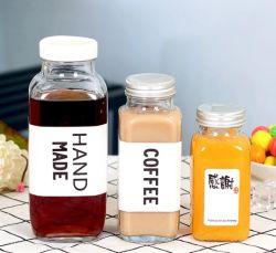 La tazza di caffè fresca degli enzimi del tè del latte della nuova del quadrato 250ml 500ml della bevanda spremuta della bottiglia di vetro ha sigillato