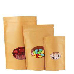 크래프트 스탠드업 집 브라운 종이 가방 건조 식품 포장 백 스탠드 업 파우치