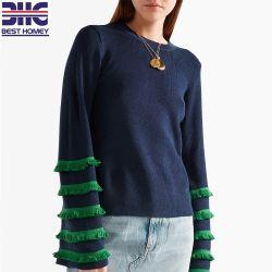 Esticar orlada tricô lã acrílica Misture Sade Pulôver camisolas para Senhoras
