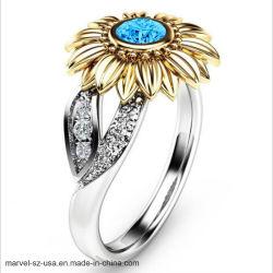 Цветные кольца из камня женщин украшения подсолнечника Серебряное кольцо Crystal кольцо