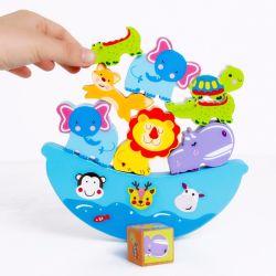 Hölzerne Montessori Baby-Kind-Tierkarikatur, die Block-Ausgleich-Spiel-pädagogische Spielwaren stapelt