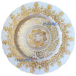 수제 웨딩 Clear Rose Gold 컬러 유리 충전기 플레이트 웨딩 케이터링 독특한 디자인 슬라이드판