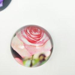 명확한 수정같은 유리 절반 공 구체 선전용 결혼 선물 문진 Rose2