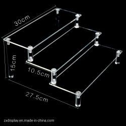 3 niveaux de présentoir acrylique claire de l'échelle Stand pour les jouets et de bicarbonate de l'eau