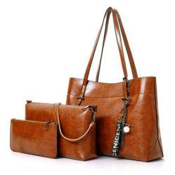 Новых женщин дамы дешевые стандартов качества проектирования 3PCS Set дамской сумочке брелоки из натуральной кожи с Satchel Pounch мешок