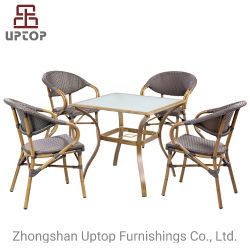 Garten-Möbel außerhalb des Aluminiumlehnsessels, Rattan-eleganter stapelbarer Terrasse-Stuhl