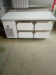 acier inoxydable cuisine commerciale Table de travail avec des tiroirs chiller