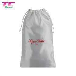Manufactory bianco del sacchetto del raso di marchio stampato schermo su ordinazione, sacchetti impaccanti del regalo del raso del Drawstring per monili, capelli, pattini, vestiti, estetica, fragranza