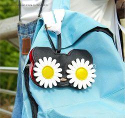 Nova Fantasia floral suave bordada Bolsa óculos em pele genuína com a Correia