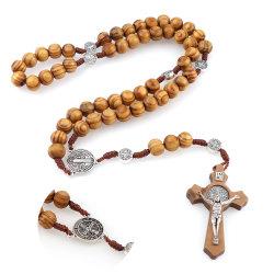 女性の宗教イエス・キリストの宝石類の母ギフトのための円形の聖者ベネディクトメダル骨董品の木の数珠のネックレスの十字のペンダント