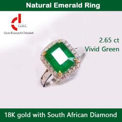 Verlobungsring Braut Edelschmuck natürlicher Smaragd Ring 18K Gold Mit südafrikanischen Diamanten Custom Frauen Ring Schmuck Diamant Hochzeit Ringe Schmuck mit GRC