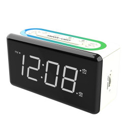 LED 시계 12시간 시간 형식 테이블 시계(USB 포함 충전 포트 디지털 알람 시계
