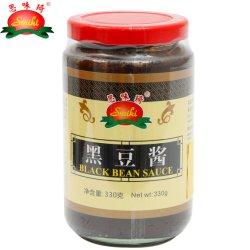 مصنع صيني 330غ صلصة الفاصوليا السوداء العضوية مع علامة تجارية Smiki مع نكهة الثوم والثوم في زجاجة زجاجية