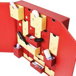 Cuadro de ciegos de cosméticos personalizados Calendario de Adviento de Embalaje Caja de cartón del calendario de la cuenta atrás de Navidad regalos