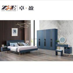 Moderner Entwurfs-Licht Luxux-MDF-Schlafzimmer-Sets mit Goldmetalldekoration-Zeile Möbel