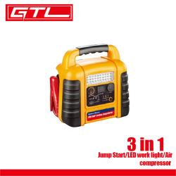 بادئ تشغيل/مصباح عمل/هواء ببطارية طوارئ للسيارة بقدرة 3 في 1 بجهد 12 فولت الضاغط