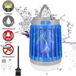 Mise à niveau de moustique solaire Killer bug zapper de lampe étanche IP67 lanterne de camping lampe torche rechargeable USB insecte tueur lampe insectifuge