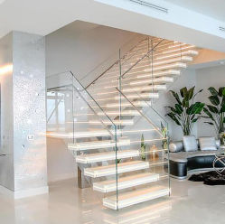 花こう岩の/Marbleのステップガラス柵の石のステアケースデザインのLEDの贅沢な階段