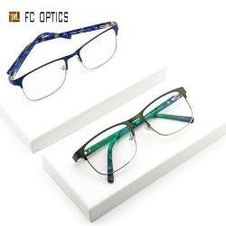 正方形の金属のアセテートのハンドメイドの先端の光学フレームのガラス製の義眼の接眼レンズ