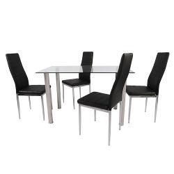 8 мм прозрачное закаленное стекло верх современный металл Нержавеющая сталь Сталь прямоугольный черный дешевая Амазонка Горячие продажи 6 Seaters Dining Набор таблиц