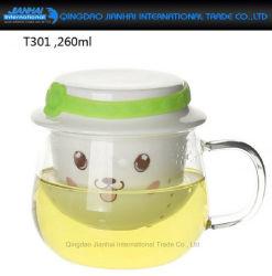 260ml tout-en-un tasse de thé en verre avec filtre intégré et couvercle