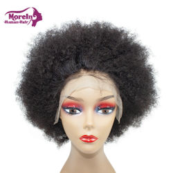 Frente al por mayor de Afro el cabello humano encaje peluca materias pelucas de pelo indio visón