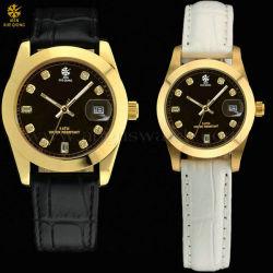 2014 couro de moda jovem relógios par de fios de aço inoxidável