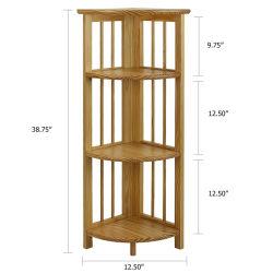 Se puede plegar de soporte de bambú de la esquina