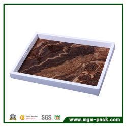 صينية خشبية من خشب المكنسة المستطيلة الشكل مع مقابض