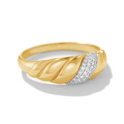 925 Sterling Silver novas chegadas do anel de Casamento 18K banhado a ouro Pave Diamond Croissant Anel Dome