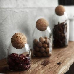 شاي زجاجي مقاوم للحرارة يمكن أن يكون دورق كورك مثبّاً زجاج المنزل علبة تخزين أدوات المطبخ ذات القنينة التخزينية