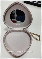 Pequena caixa de jóias de veludo de couro Heart-Shape jóias caso com espelho para meninas usado para Anel Brinco Batom Pink