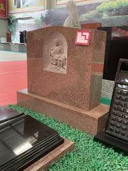 Escultura em pedra-de-tombstone em granito vermelho Relif Família de esculturas para pedra de Cemtery