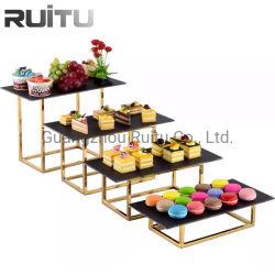 Het Hotel van Guangzhou levert Hotel van de Tribune van de Vertoning van het Voedsel van de Apparatuur van het Buffet van de Catering van het Stootbord van het Buffet van de Schotel van de Lei van het Dessert van de Decoratie de het Dienende Gouden en Levering van het Restaurant
