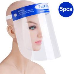 5 pacchetti di protezione della testa di sicurezza dell'occhio riutilizzabile della visiera, visiera protettiva trasparente della maschera di protezione piena, uomini facciali delle donne del coperchio della spruzzata dell'Anti-Emissione