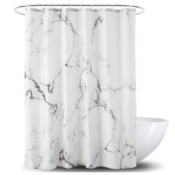 Het marmeren Ontwerp maakt het Gordijn van de Douche van de Polyester van 100% waterdicht