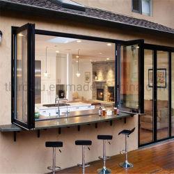 Norma australiana Revestimento a pó sem caixilho da janela de vidro design dobrável Varanda Janela de dobragem