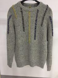 남자의 편물 둥근 목 긴 Sleecve 스웨터 100%Wool